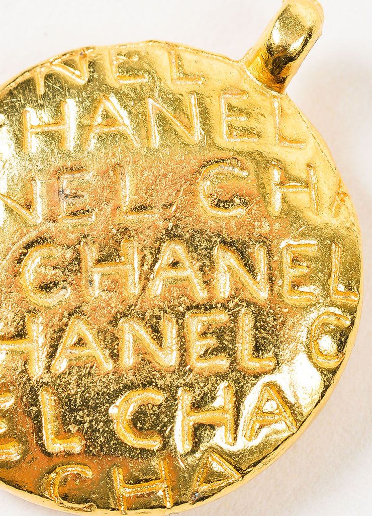 Gold Toned Chanel Mademoiselle Circle Pendant Brand