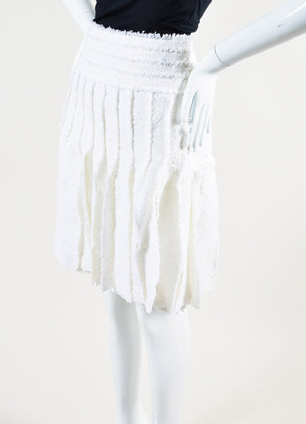 Chanel White Cotton and Wool Blend Tweed Strip Piece Pleated Skirt Sideview