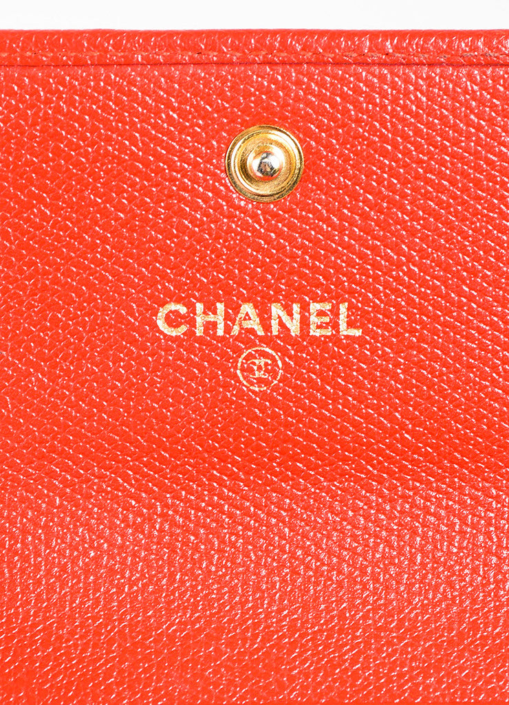 Red Chanel Leather Gold Toned Metal 'CC' Flap Top Compact Wallet Brand