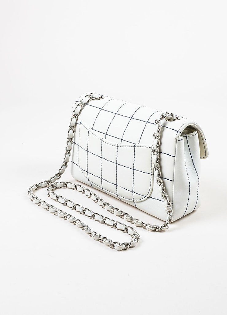 Chanel White Leather Navy Contrast Stitch Shoulder Flap Bag Sideview
