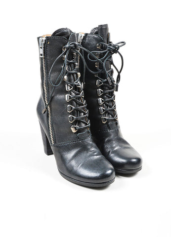 Black Chloe Leather Zip Lace Up Stacked Heel Mid Calf Boots Frontview
