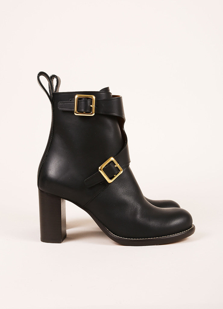 "Chloe New In Box Black Leather Wrap Buckle ""Toscano"" Ankle Boots Sideview"