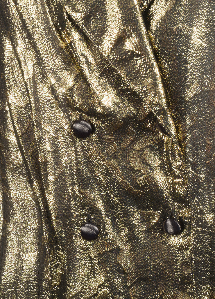 Christian Dior Gold and Black Metallic Floral Print Long Sleeve Blouse Detail
