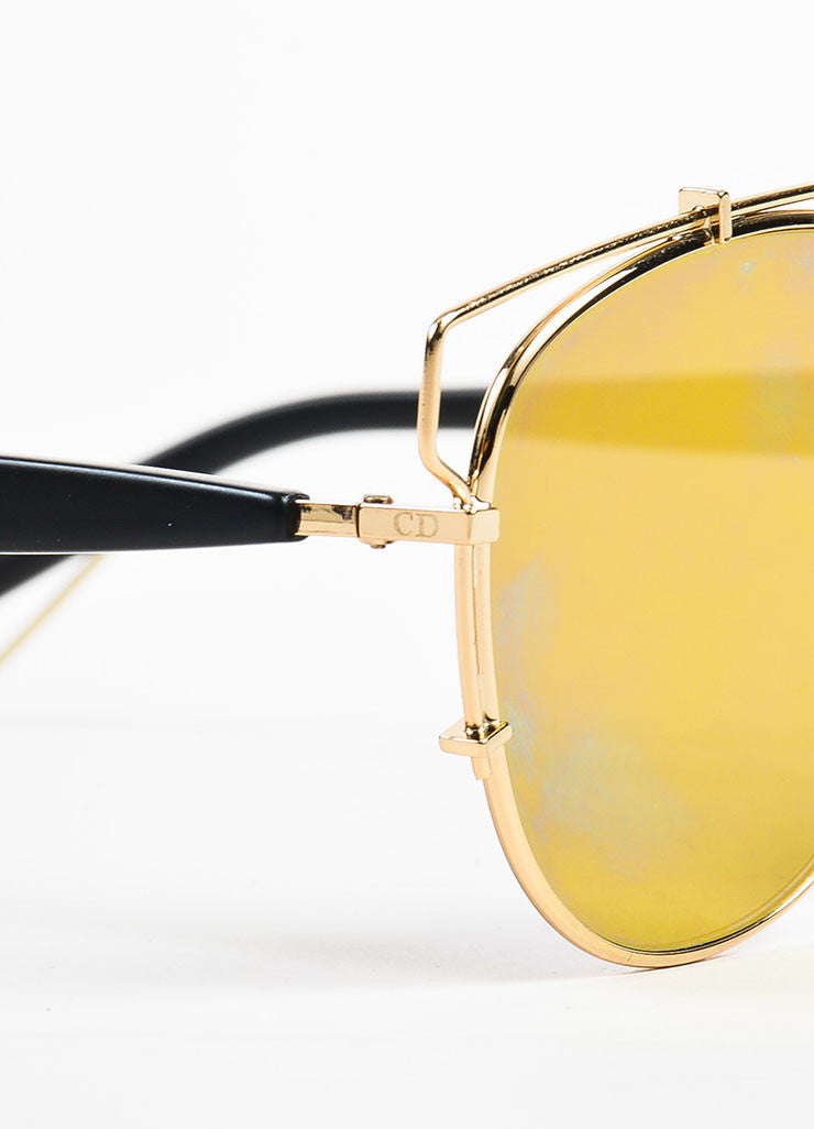 "Christian Dior Gold Toned Black and Blue Mirrored ""Technologic"" Aviator Sunglasses Detail"