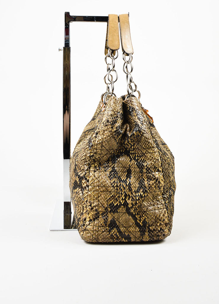 Christian Dior Beige Python Cannage Stitch Tote Bag Sideview