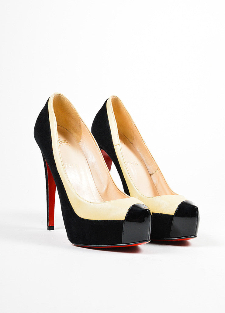 "Black and Nude Christian Louboutin Leather Suede ""Mago"" Platform Pumps Frontview"