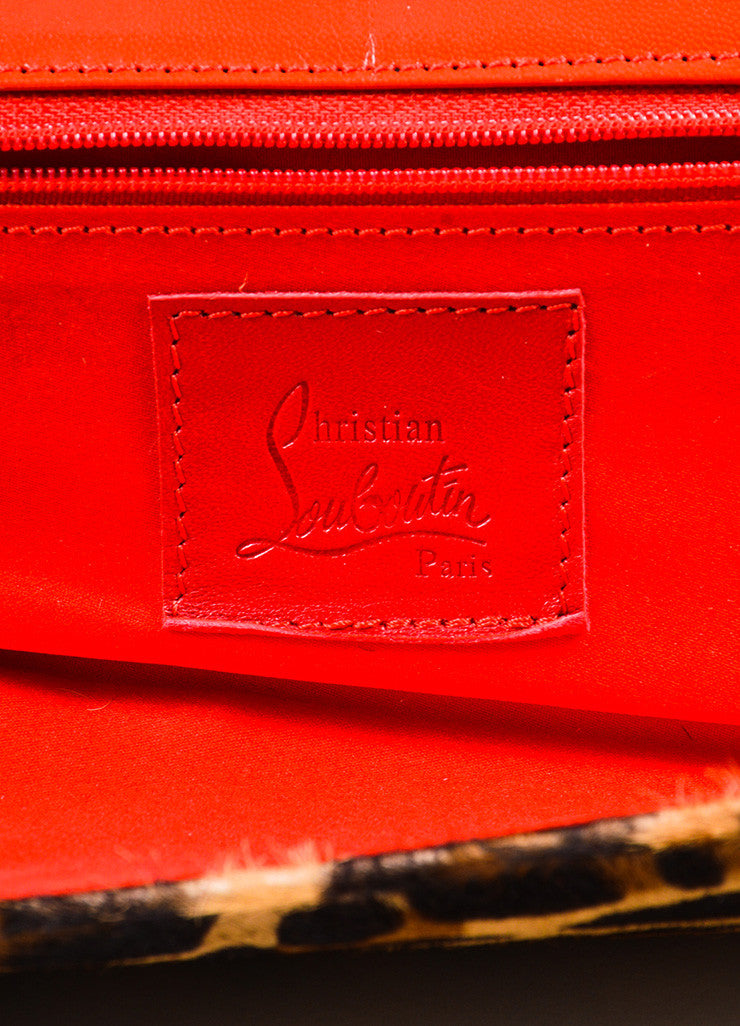 Christian Louboutin Tan, Brown, and Red Pony Hair Leather Leopard Print Long Clutch Bag Brand
