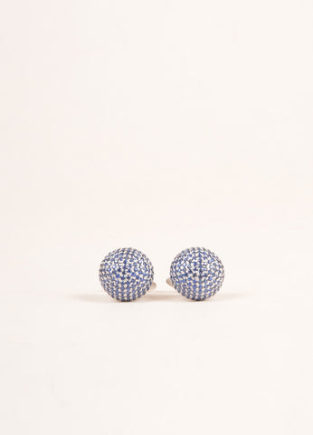 Dana Rebecca 14K White Gold and Blue Rhinestone Cufflinks Frontview
