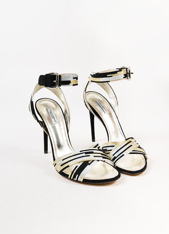 Dolce & Gabbana Black, Metallic Gold, and Silver Suede Trim Sandals Frontview