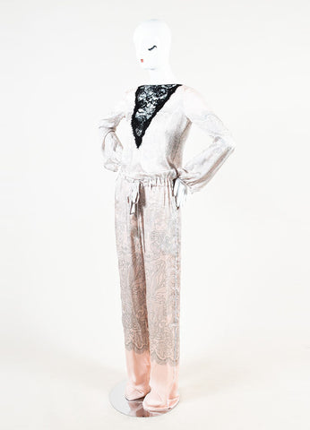Emilio Pucci Pink, Grey, and Black Silk Lace Panel Pattern Long Sleeve Jumpsuit Sideview