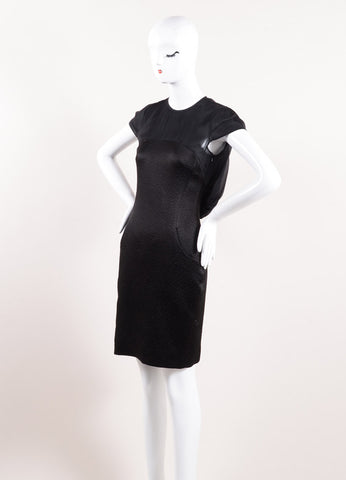 Erdem Black Silk Textured Draped Cap Sleeve Tailored Dress Sideview