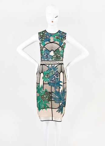 "Erdem Green, Teal, and Black Embroidered ""Brenton"" Sleeveless Dress Frontview"