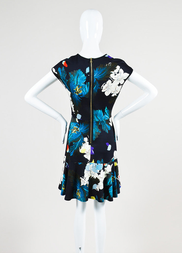 "Multicolor Erdem Jersey Floral ""Darlina"" Cap Sleeve Dress Backview"