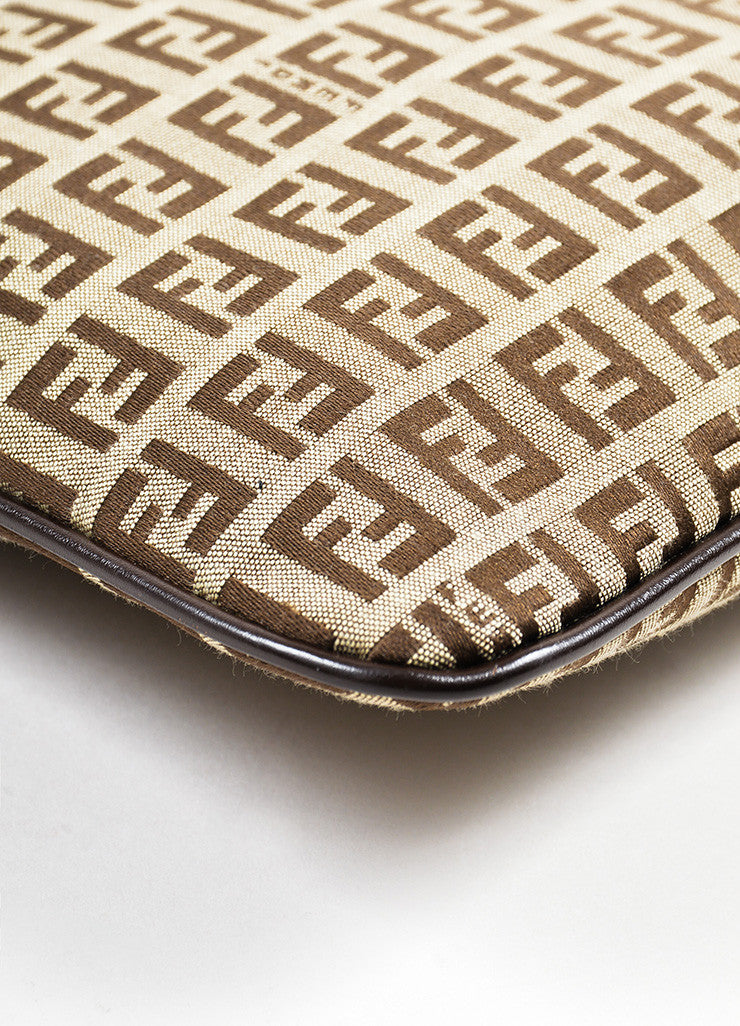 "Fendi Brown and Tan Canvas ""Zucca"" Square Cross Body Bag Detail"
