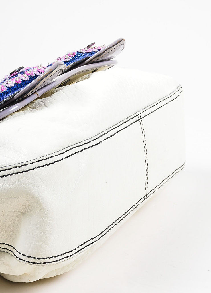 Fendi Cream, Grey, and Purple Leather Floral Embellished 'B' Shoulder Bag Bottom View
