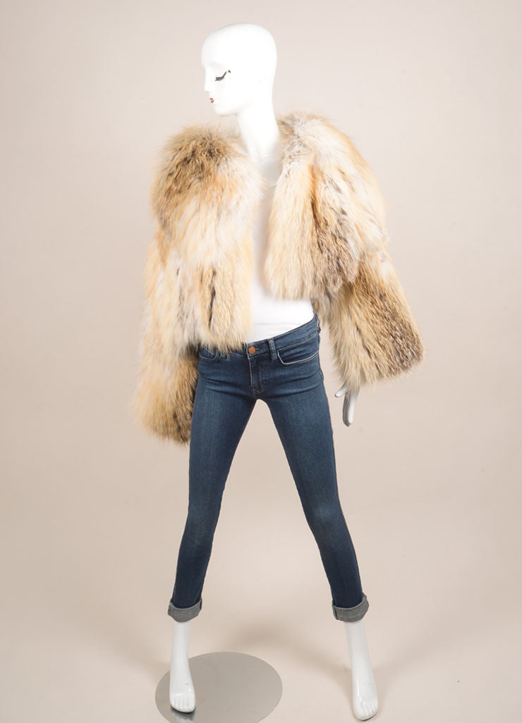 Fendi Cream, Tan, and Grey Flared Sleeve Crop Waist Fur Jacket Frontview