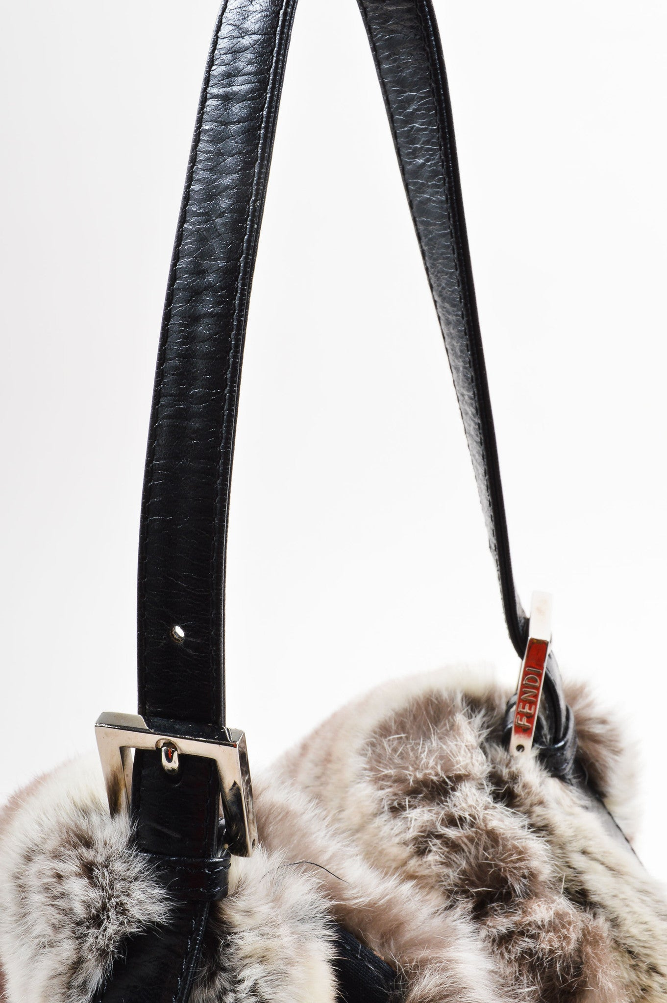 Fendi Grey Black Fur Baguette Shoulder Bag Detail 2