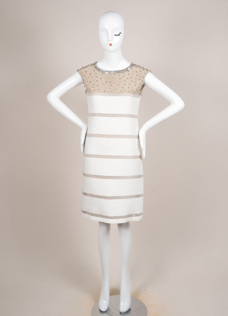 Fendi Tan and Cream Silk Knit Contrast Rhinestone Embellished Mesh Trim Dress Frontview