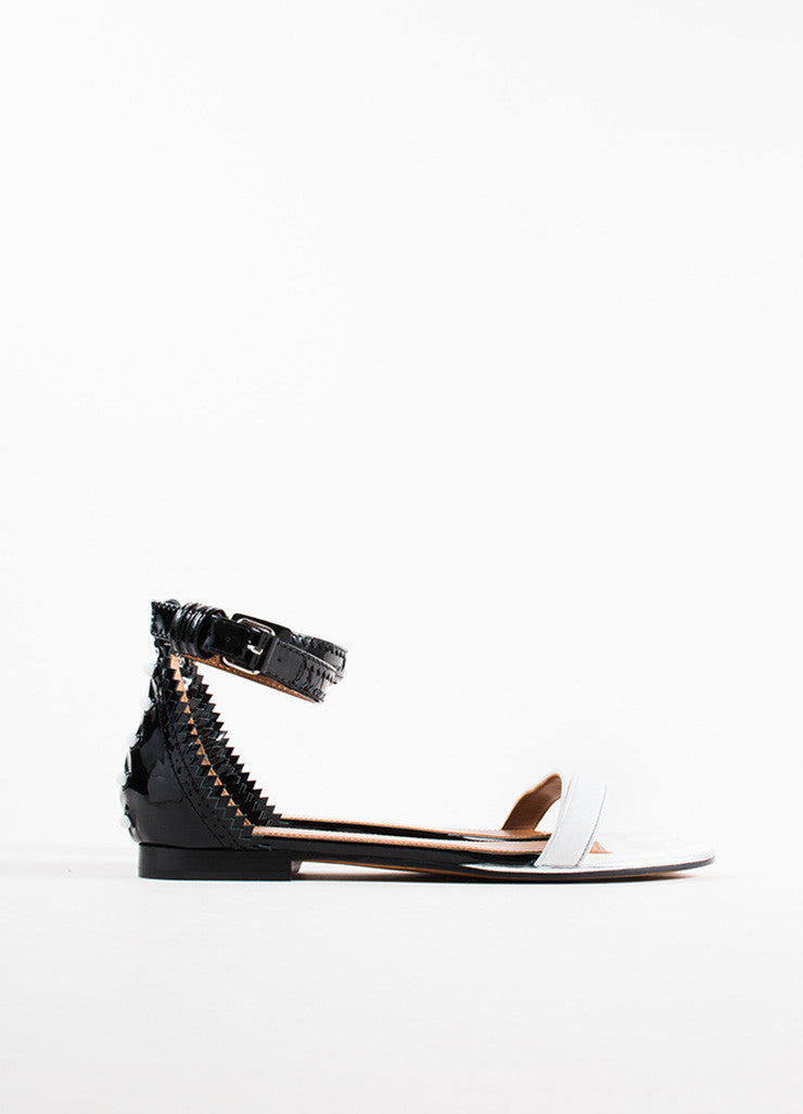 "Givenchy Black and White Patent Leather Ankle Strap Flat ""Coroline"" Sandals Sideview"