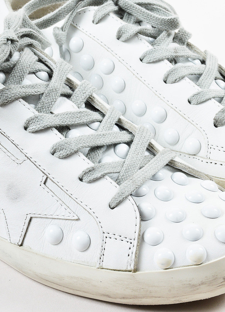 Golden Goose Deluxe Brand White Leather Studded Superstar Sneakers Detail