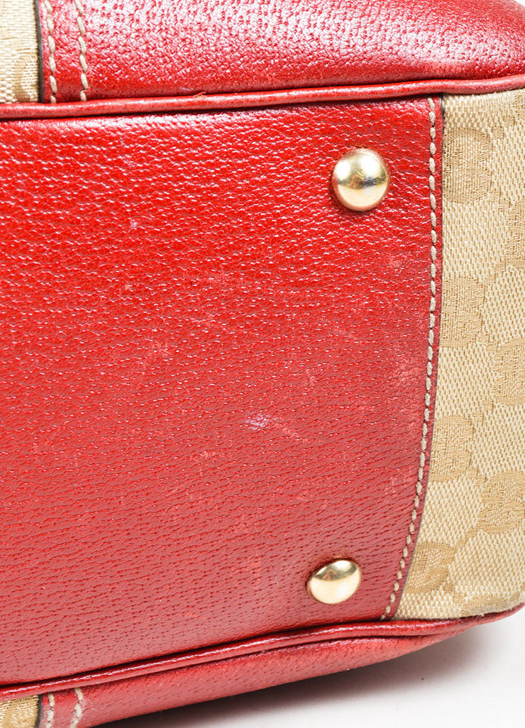 "Beige and Red Gucci Canvas and Leather Monogram ""Princy"" Tote Bag Detail 3"