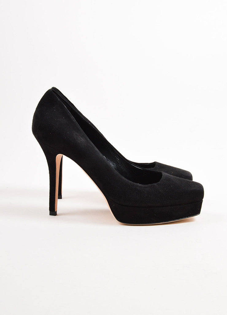 Gucci Black Suede Square Toe Platform Pumps Sideview
