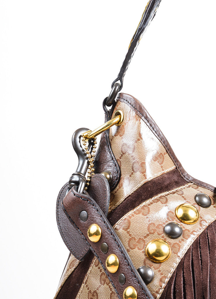 Brown and Tan Gucci Coated Canvas 'GG' Monogram Crystal Babouska Large Indy Hobo Bag Detail 2