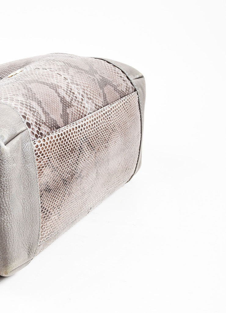 "Grey Gucci Leather Python Horsebit ""Greenwich"" Shoulder Bag Bottom View"
