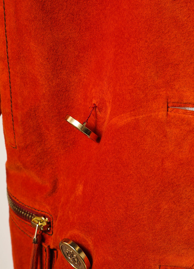 Gucci Orange Suede Leather Long Sleeve Double Breasted Pea Coat Detail 2