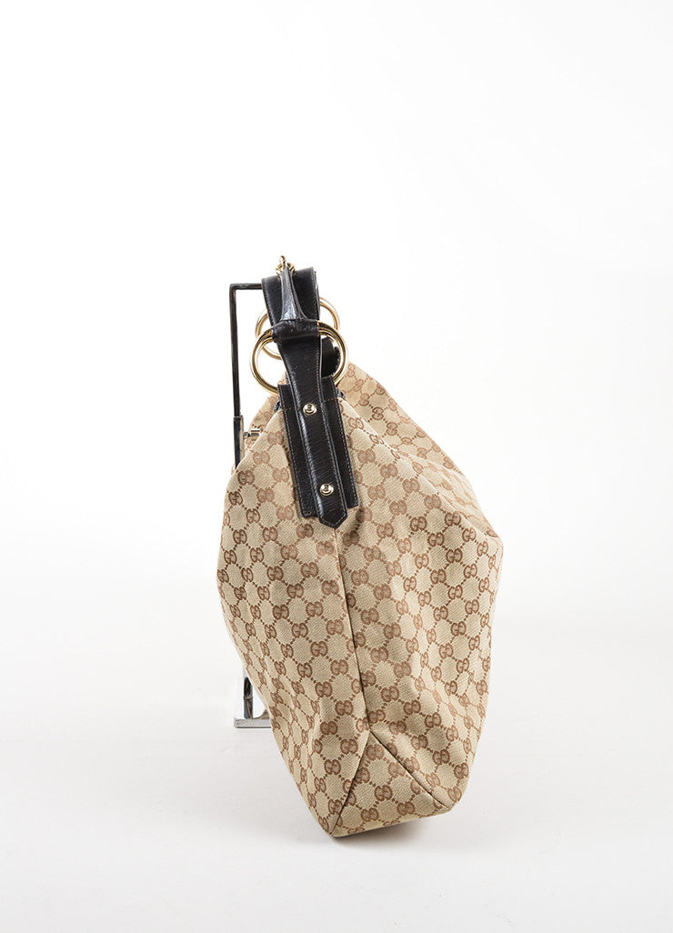 Gucci Tan and Brown Monogram Canvas and Leather Horsebit Large Hobo Bag Sideview
