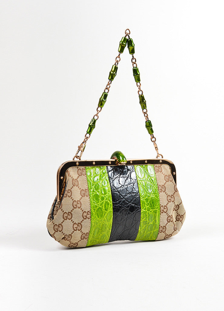 Brown, Green, and Black Tom Ford for Gucci Monogram Canvas Crocodile Snake Head Bag Backview