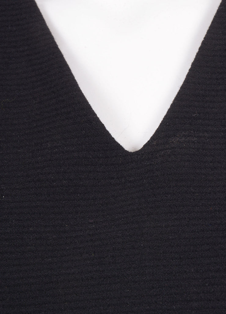 "Hellessy New With Tags Black Wool Ribbed Three Quarter Sleeve ""Miki"" Top Detail"
