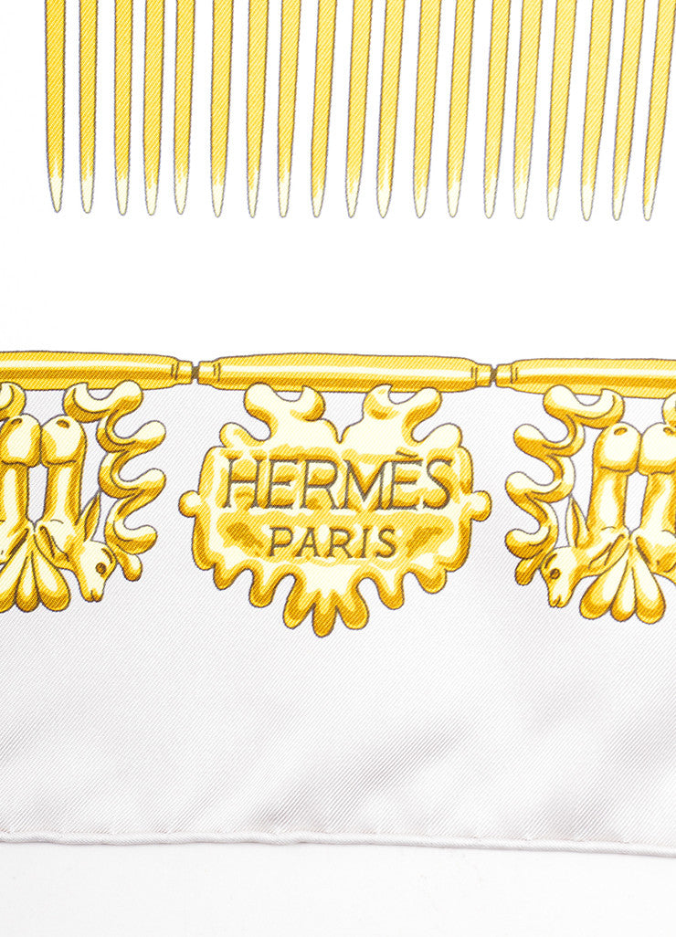"Hermes Grey and Gold Silk Twill ""Les Cavaliers d'Or"" Jewelry Print 90cm Scarf Brand"