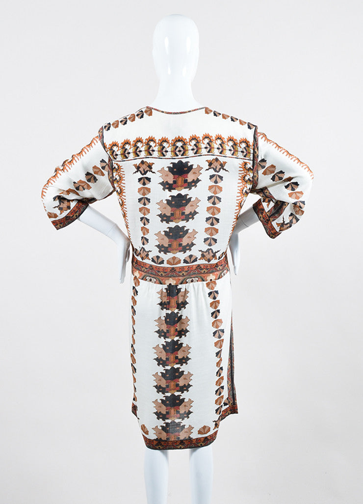 "Ecru, Black, and Brown Isabel Marant Printed Mini Shift ""Sandrine"" Dress Backview"