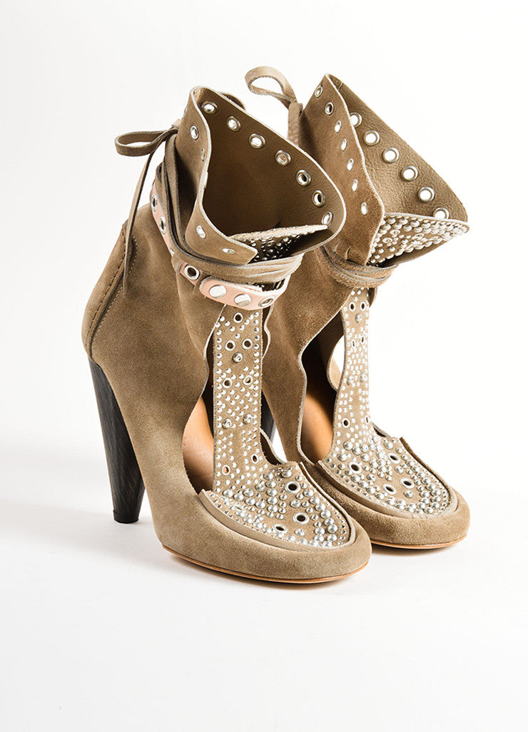 Isabel Marant Grey Suede Leather Studded Moccasin Ankle Heels Frontview