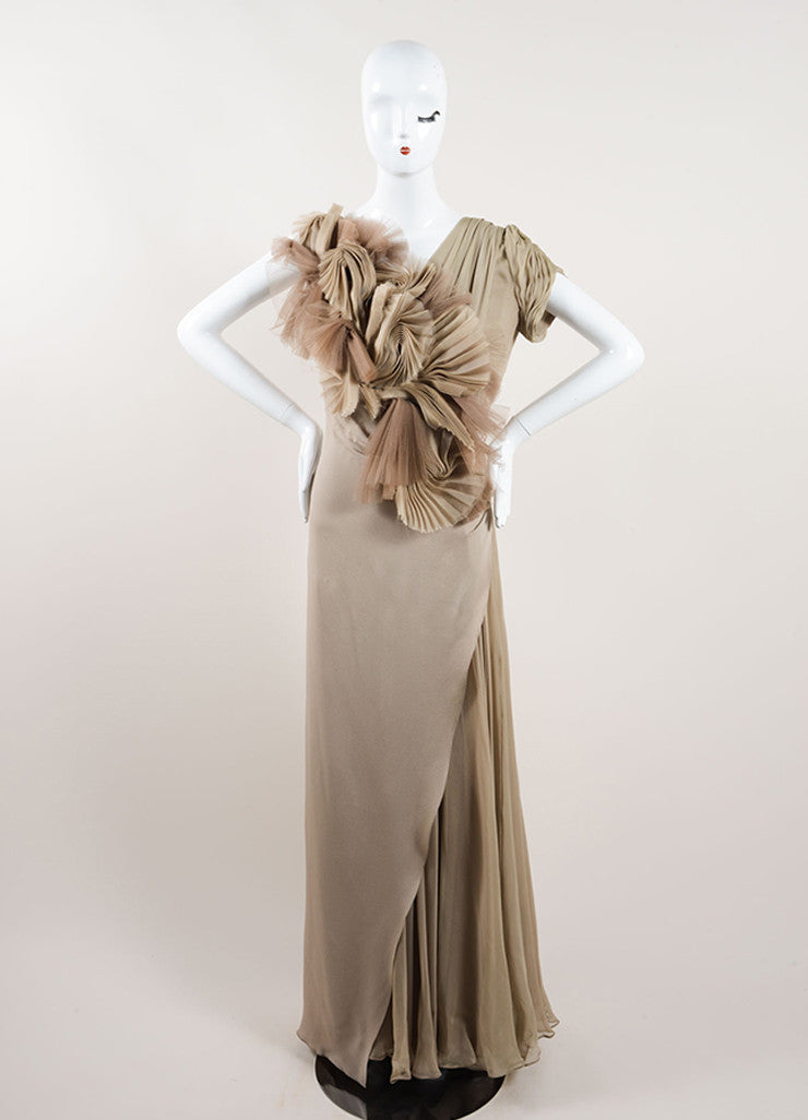J. Mendel Taupe Silk Sleeveless Open Back Pleated Chiffon Detail Gown Frontview
