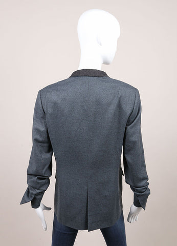 "Jil Sander New With Tags Blue and Grey Wool and Cashmere Buttoned ""Hopkins"" Blazer Backview"