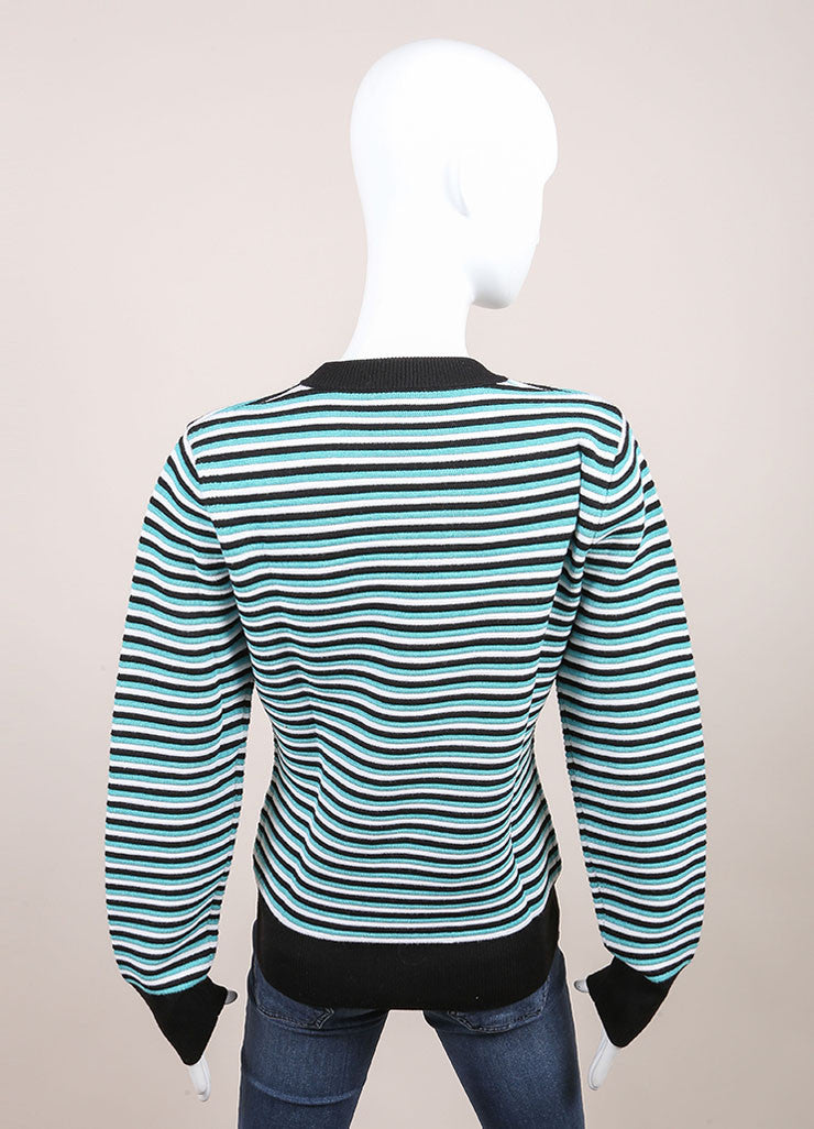 "Jonathan Saunders New With Tags Aqua, Black, and White Stripe Wool ""Pye"" Long Sleeve Sweater Backview"