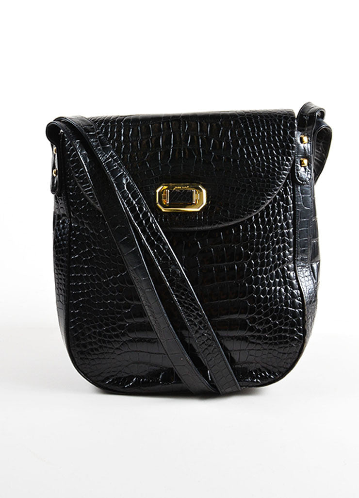 Judith Leiber Black Crocodile Patent Leather Double Strap Flap Shoulder Bag Frontview