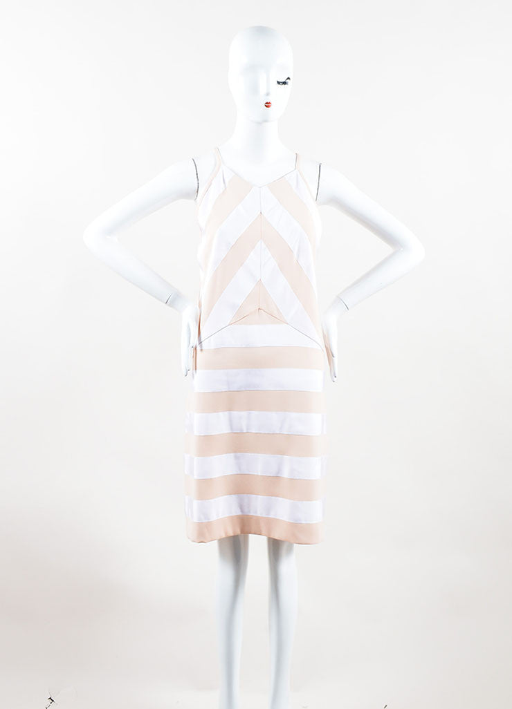 Kenzo Peach, Nude and White Crepe Ribbon Striped Sleeveless Dress Front