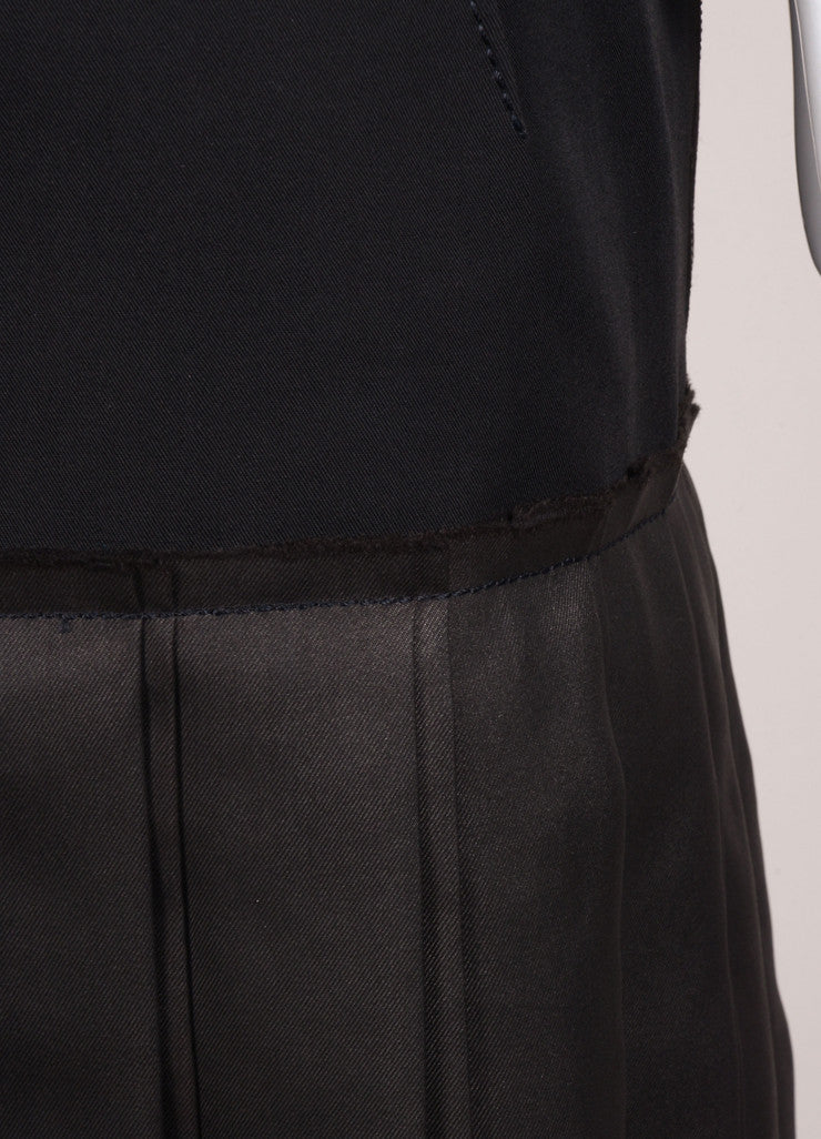 Lanvin Black Double Knife Pleated Knee Length Wool and Silk Skirt Detail