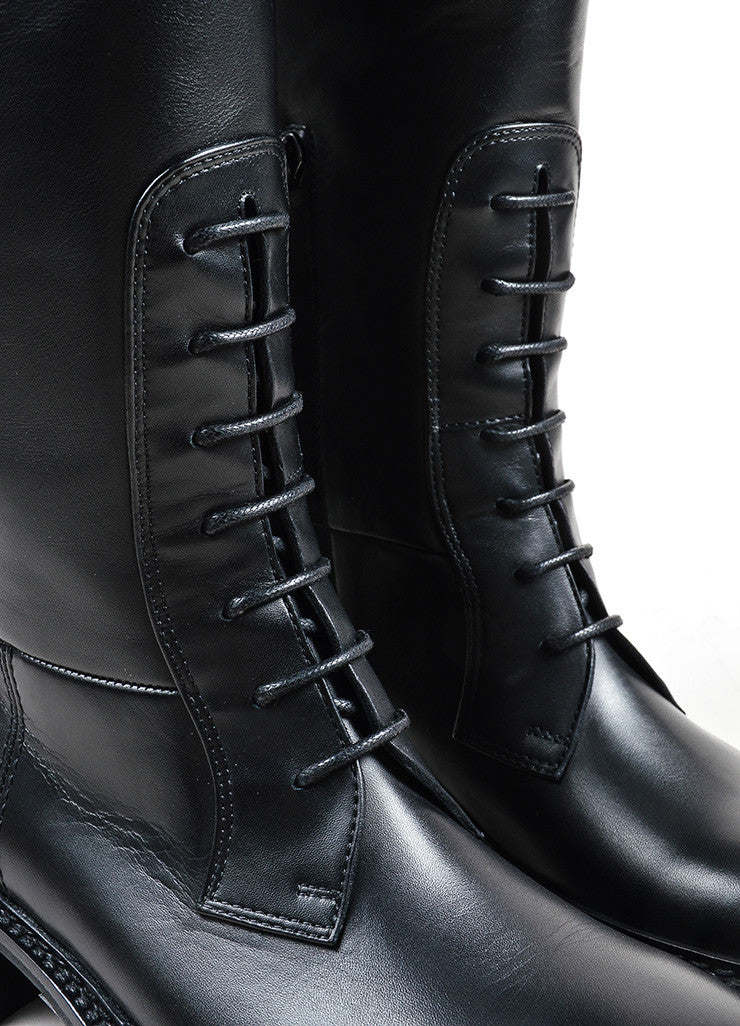 "Lanvin Black Leather Lace Front Tall ""Military"" Boots Detail"