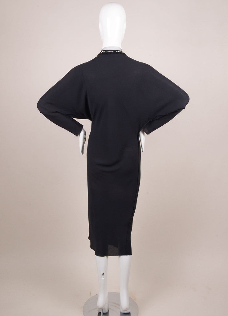 Lanvin Navy Crepe Beaded Jewel Embellished Mesh Trim Long Sleeve Dress Backview