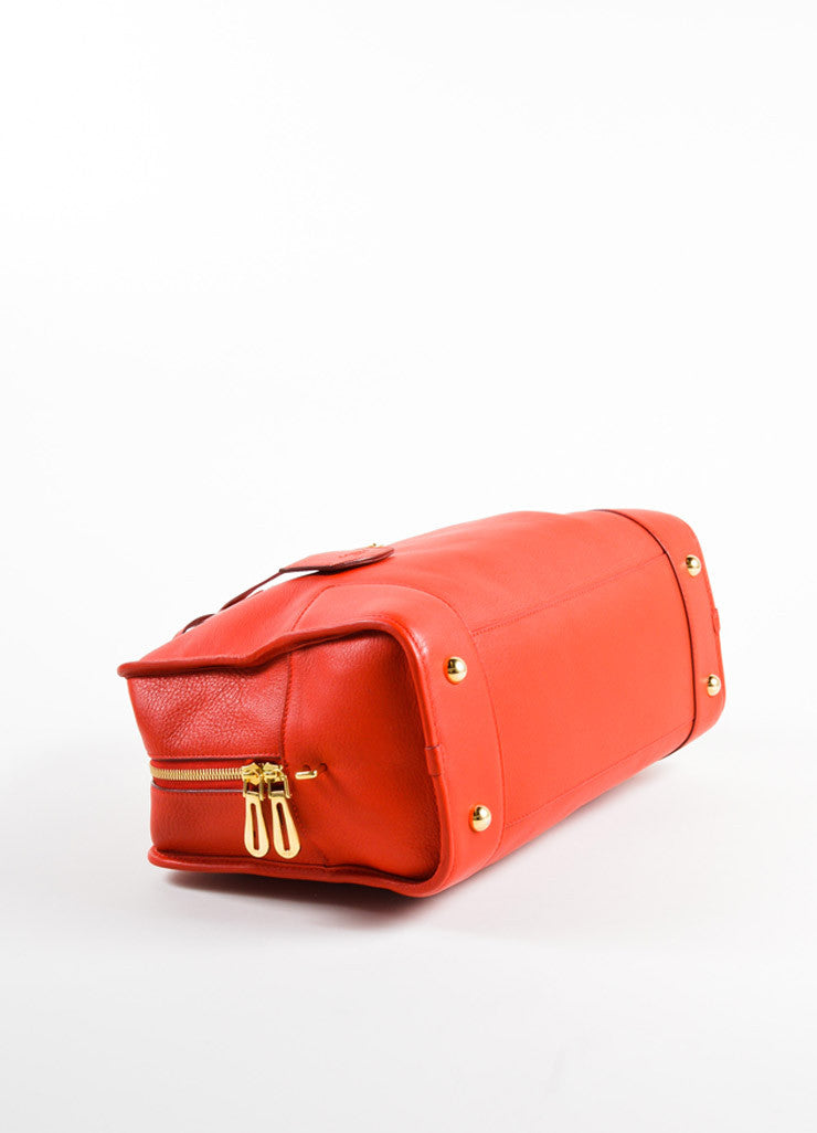 "Loewe Red Leather Limited Edition ""Amazona 36"" Satchel Bag Bottom View"