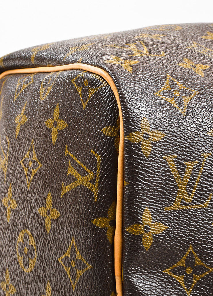 "Brown and Tan Louis Vuitton Coated Canvas Monogram ""Speedy 30"" Satchel Bag Detail"