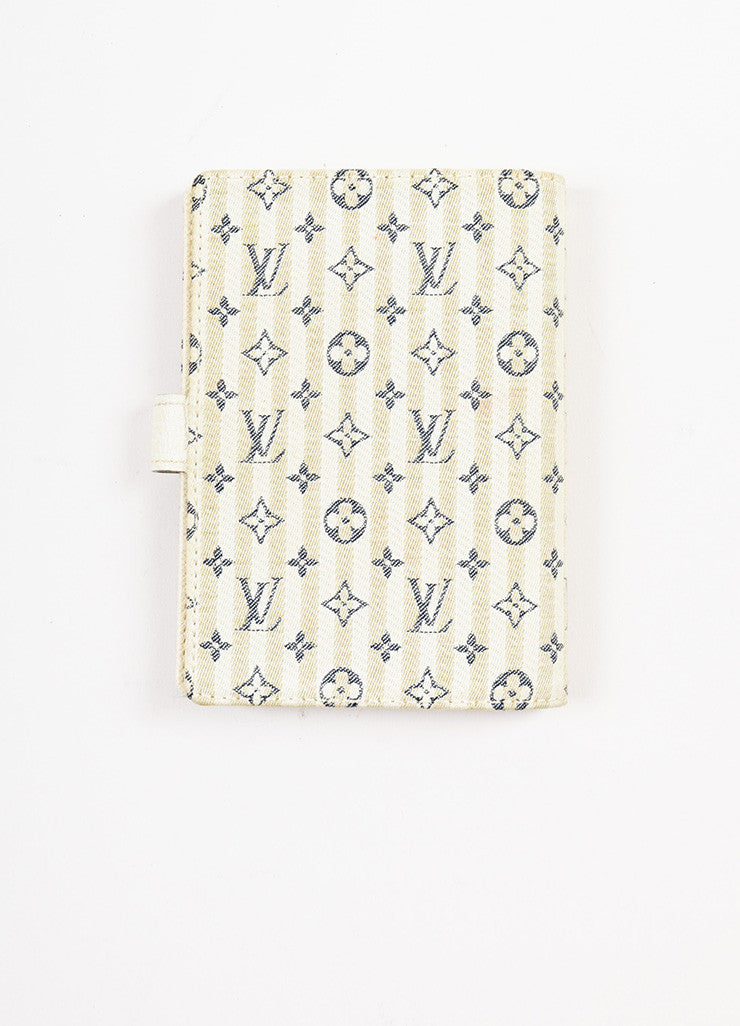 "Louis Vuitton Beige, Cream, and Navy Monogram ""Croisette Mini Lin Small Agenda"" Cover Backview"