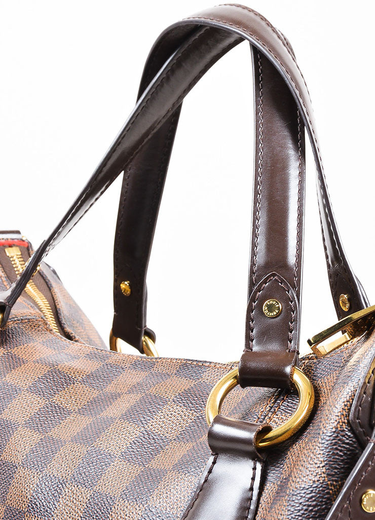 "Louis Vuitton Brown ""Ebene Damier"" Coated Canvas Checkered ""Evora MM"" Tote Bag Detail 2"