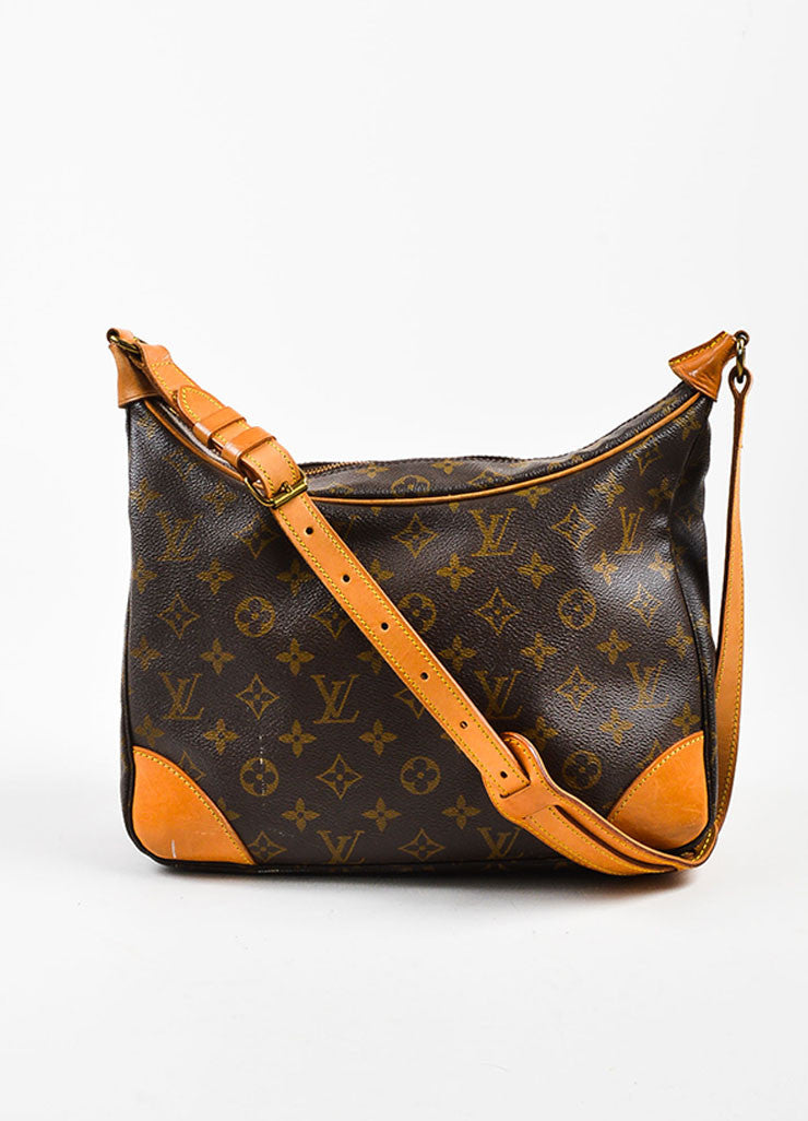 "Louis Vuitton Brown Monogram Coated Canvas ""Boulogne"" Shoulder Bag Frontview"