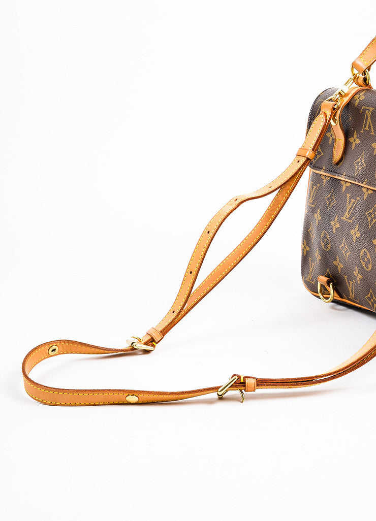 "Louis Vuitton Brown and Tan Coated Canvas Leather Monogram ""Marelle Sac a Dos"" Bag Detail 3"