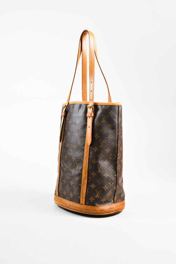 "Louis Vuitton Brown and Tan Monogram Coated Canvas ""Bucket"" Shoulder Bag Sideview"